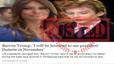 Busted: US presidential son Barron Trump said he's honored to meet Duterte in November? Story came from fake news site
