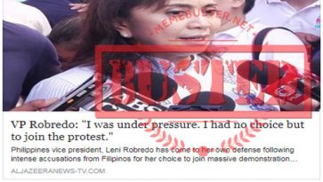 Busted: Robredo said she was under pressure, had no choice but to join Sept 21 protest? It's fake news!