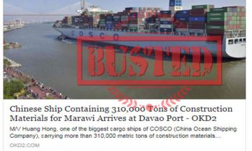 Busted: Chinese ship delivered 310,000 metric tons of construction materials for Marawi? No, they didn't!