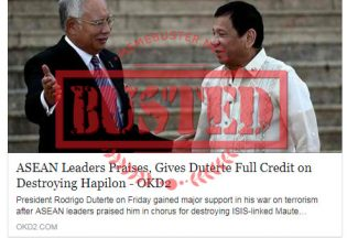 Busted: ASEAN leaders praised Duterte, gave full credit to him for destroying Hapilon? It's not true!