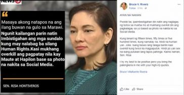Busted: Duterte supporter Bruce Rivera falls for fake news about Hontiveros' 'overkill' accusation vs. soldiers