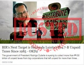Busted: Hacienda Luisita and its P14.7-billion unpaid taxes next on BIR's target list? It's not true!