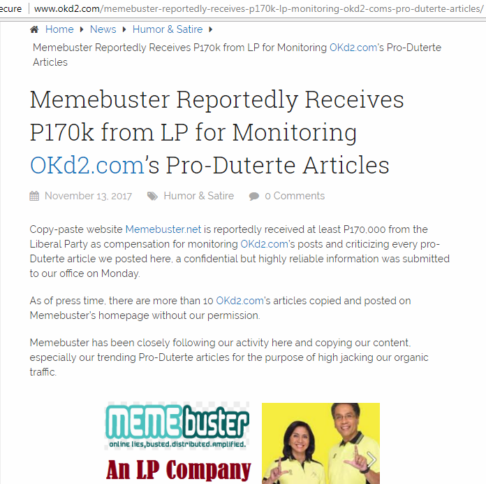 Busted Okd2 Publishes Satirical Article Accusing Memebuster Of