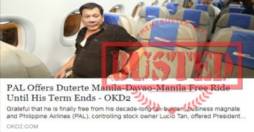 Busted: PAL offers free ride to Duterte until his term ends? It's not true at all!