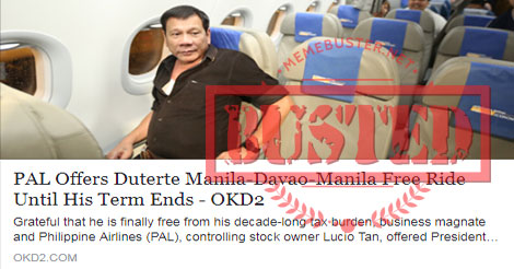 PAL offers free ride to Duterte
