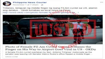 Busted: Fil-Am cyclist gave Trillanes the finger in the US? Story is not true, used wrong photo!