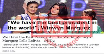 Busted: Did Winwyn Marquez call Duterte the best president in the world in Bolivia pageant? No, she didn't!