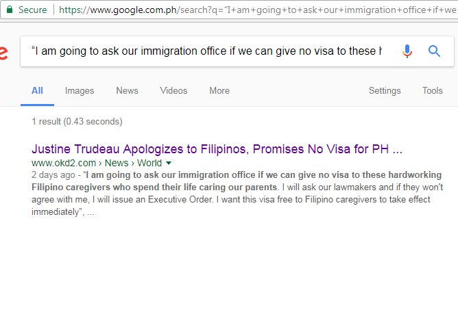 Busted Trudeau Apologized To Filipinos Vowed Visa Free Entry For