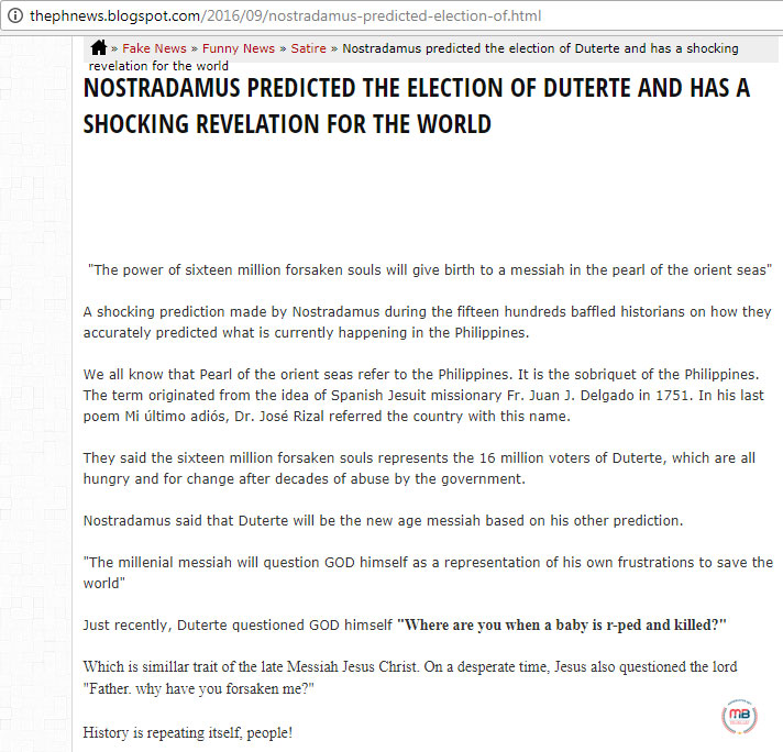 Busted: Nostradamus predicted Duterte's victory? Even Mocha