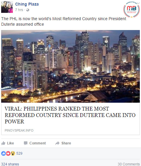 PH Most Reformed Country