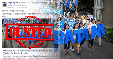 Kabataan party-list complaining about why free tuition