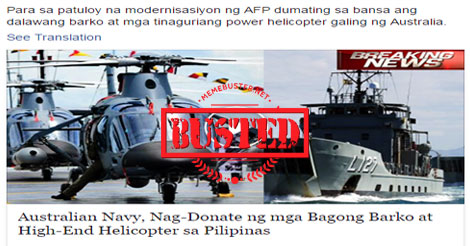 Australian Navy donated 2 vessels, helicopter